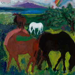 "Puakea Horses with Rainbow and Maui 24""x24"""